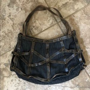 BCBGMAXAZRIA denim and distressed leather bag